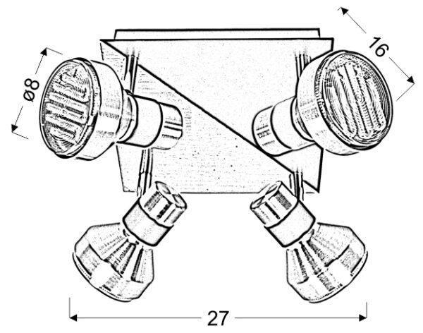 SORTHA 1 LAMPA SUFITOWA PLAFON 4X9W GX53 ENERGOOSZCZĘDNA - 98-08308