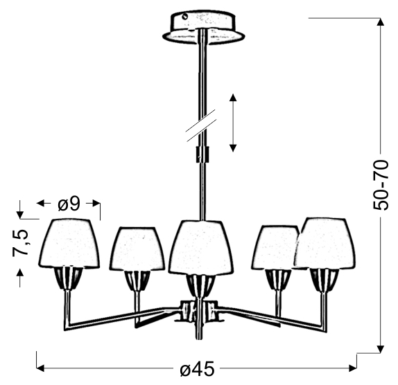 TOGO LAMPA WISZĄCA 5X40W G9 NIKIEL MAT PROMOCJA - 35-10646
