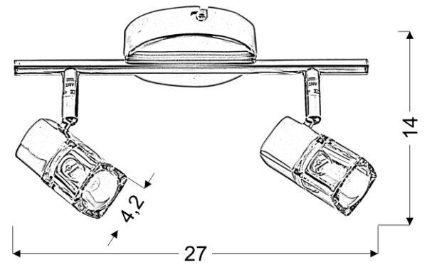 DIAMENT LAMPA SUFITOWA LISTWA 2X40W G9 - 92-19236