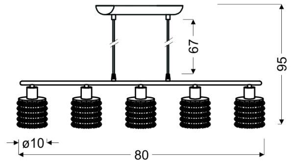 ROYAL LAMPA WISZĄCA 5X40W G9 CHROM+KRYSZTAŁKI CZARNE - 35-35724