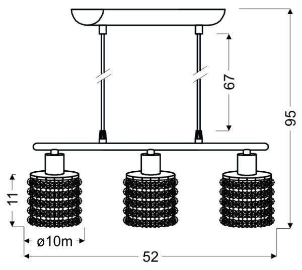 ROYAL LAMPA WISZĄCA 3X40W G9 CHROM+KRYSZTAŁKI CZARNE - 33-35885