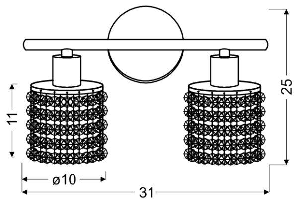 ROYAL LAMPA SUFITOWA LISTWA 2X40W G9 CHROM+KRYSZTAŁKI CZARNE - 92-36257