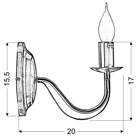 MUZA LAMPA KINKIET 1X40W E14 PATYNA - 21-69149