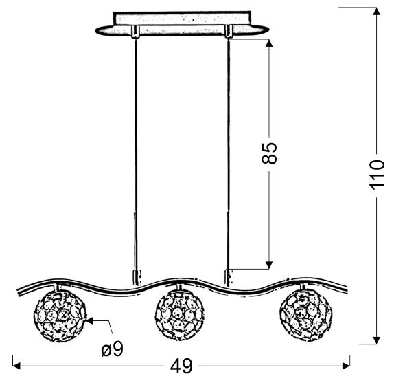 STARLET LAMPA WISZĄCA 3X40W G9 CHROM/TRANSPARENT - 33-85743