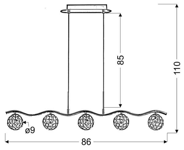 STARLET LAMPA WISZĄCA 5X40W G9 CHROM/TRANSPARENT - 35-85767