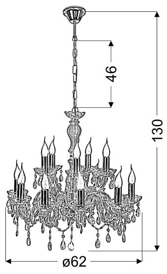 MARIA TERESA LAMPA WISZĄCA 12X40W E14 ZŁOTY - 30-94608