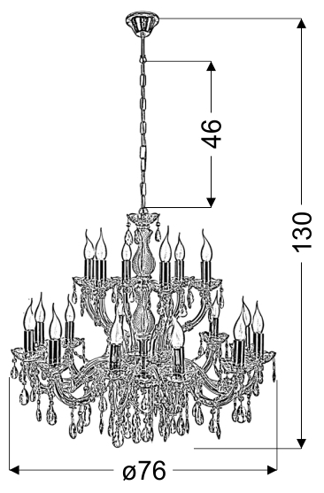 MARIA TERESA LAMPA WISZĄCA 18X40W E14 ZŁOTY - 30-94615
