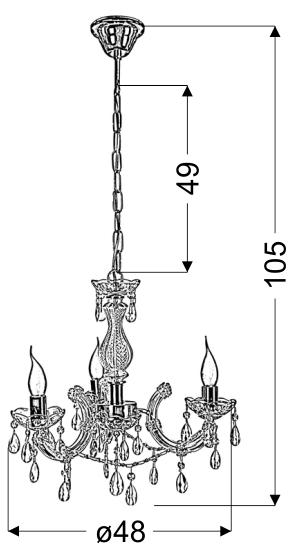 MARIA TERESA LAMPA WISZĄCA 3X40W E14 ZŁOTY - 33-94639
