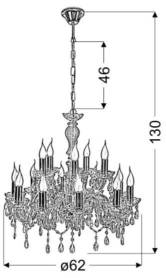 MARIA TERESA LAMPA WISZĄCA 15X40W E14 ZŁOTY - 30-95810