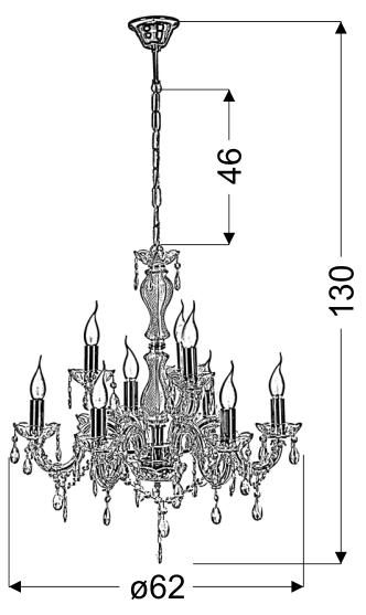 MARIA TERESA LAMPA WISZĄCA 9X40W E14 ZŁOTY - 39-95841