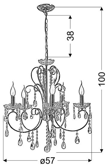 AURORA LAMPA WISZĄCA 5*40W E14  CHROM - 35-96152