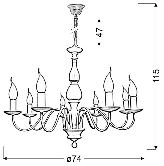 BELLAGIO LAMPA WISZĄCA 8X40W E14 KREMOWY - 38-96510