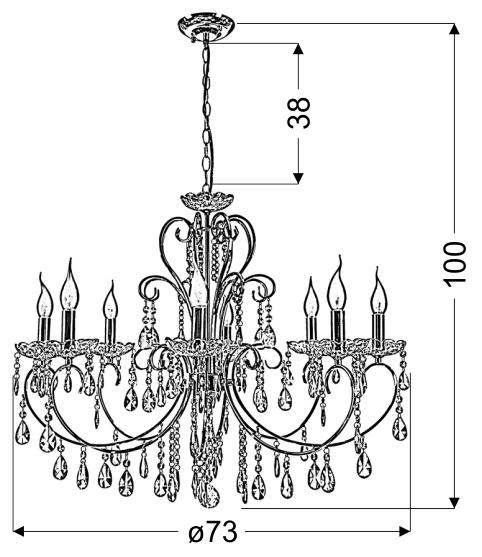 AURORA LAMPA WISZĄCA 8*40W E14 CHROM - 38-97579