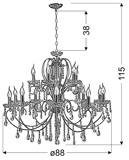 AURORA LAMPA WISZĄCA 10+5*40W E14  ZŁOTO - 30-99801