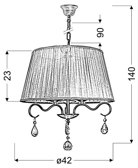 FIESTA LAMPA WISZĄCA 3X40W E14 - 33-04451