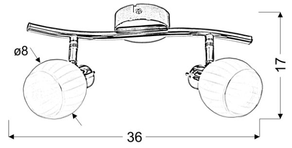 BARS LAMPA SUFITOWA LISTWA 2X40W G9 PATYNA - 92-06752