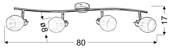 BARS LAMPA SUFITOWA LISTWA 4X40W G9 PATYNA - 94-06776
