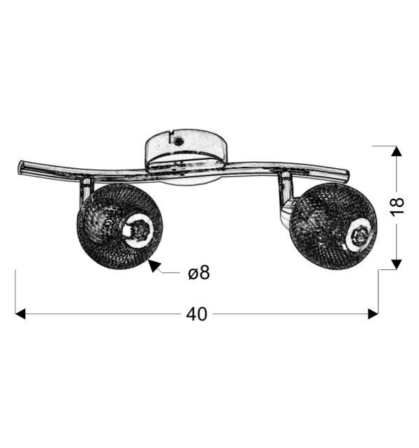 NOVEL LAMPA SUFITOWA LISTWA 2X40W G9 CHROM - 92-06967