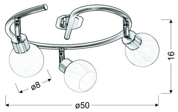 ALABASTER LAMPA SUFITOWA SPIRALA 3X40W G9 SATYNA+CHROM - 98-07032