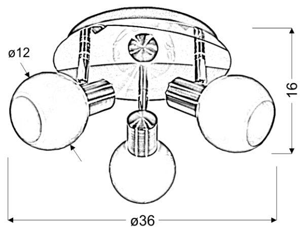 AVILA LAMPA SUFITOWA PLAFON 3X40W E14 MOSIĄDZ - 98-07131
