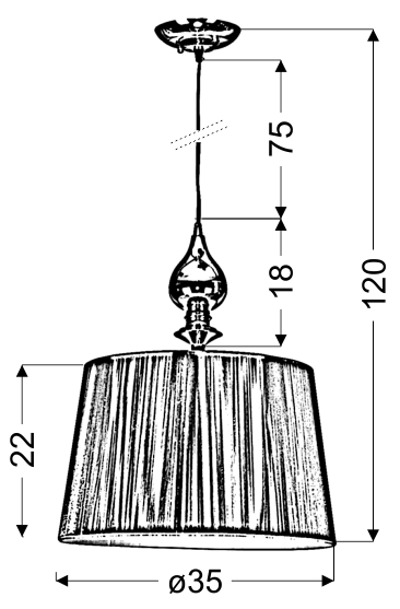 GILLENIA LAMPA WISZĄCA 1X60W E27 SREBRNA - 31-07155