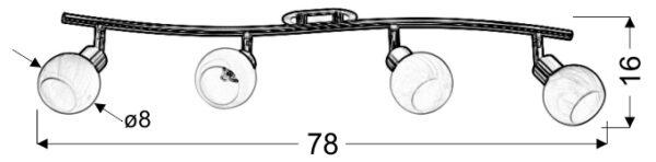 ALABASTER LAMPA SUFITOWA LISTWA 4X40W G9 SATYNA+CHROM - 94-07162