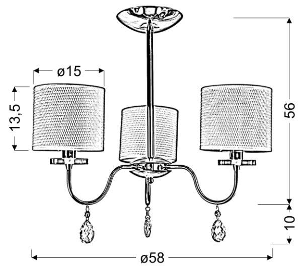 ESTERA LAMPA WISZĄCA 3X40W E14 CHROM - 33-11664