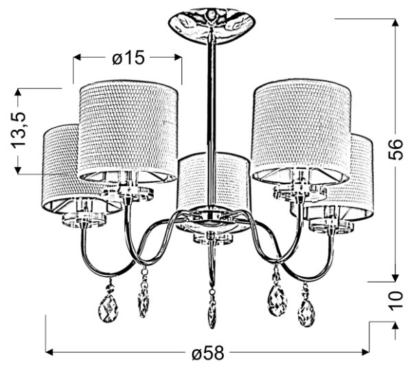 ESTERA LAMPA WISZĄCA 5X40W E14 CHROM - 35-11671