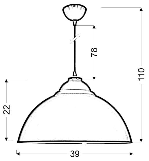 UNI LAMPA WISZĄCA 38 1X60W E27 CZERWONY - 31-13309