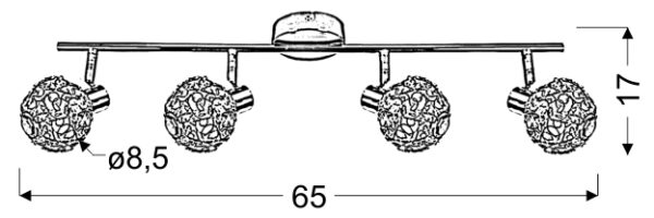 COLLAR LAMPA SUFITOWA LISTWA 4X40W G9 CHROM - 94-13743
