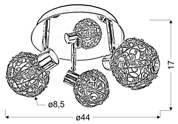 COLLAR LAMPA SUFITOWA PLAFON 3X40W G9 CHROM - 98-13750
