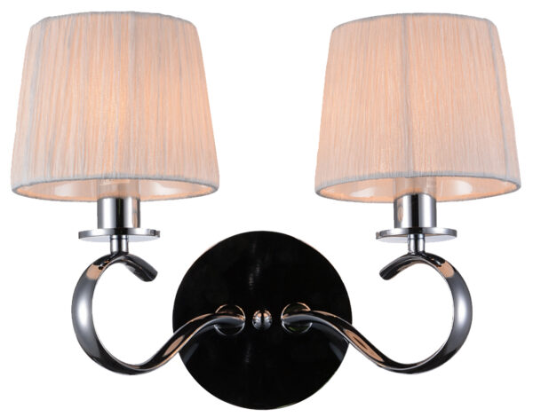 CLARA LAMPA KINKIET 2X40W E14 CHROM / BIAŁY - 22-21564