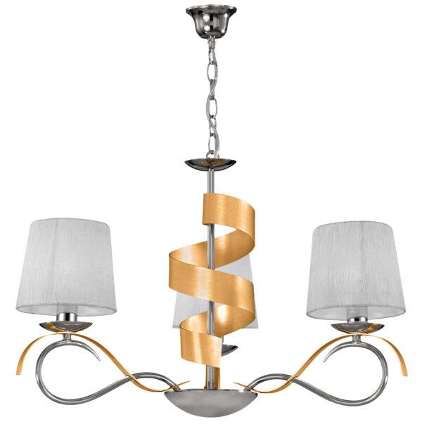 DENIS LAMPA WISZĄCA 3X40W E14 CHROM/ZŁOTY - 33-23421