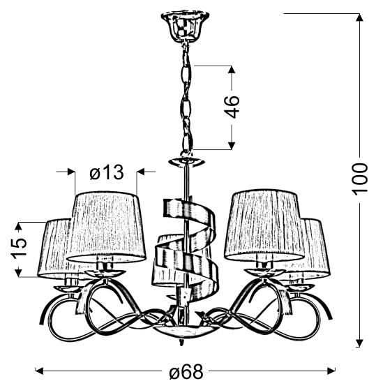 DENIS LAMPA WISZĄCA 5X40W E14 CHROM/ZŁOTY - 35-23445