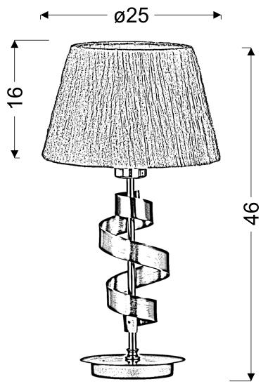 DENIS LAMPA GABINETOWA 1X60W E27 CHROM/ZŁOTY + ABAŻUR O TYM SAMYM INDEKSIE - 41-23483