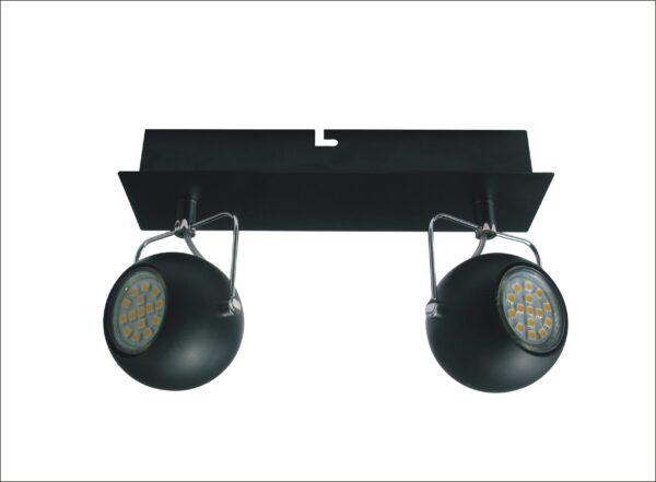 TONY LAMPA SUFITOWA LISTWA 2X3W LED GU10 CZARNY MATOWY - 92-25012