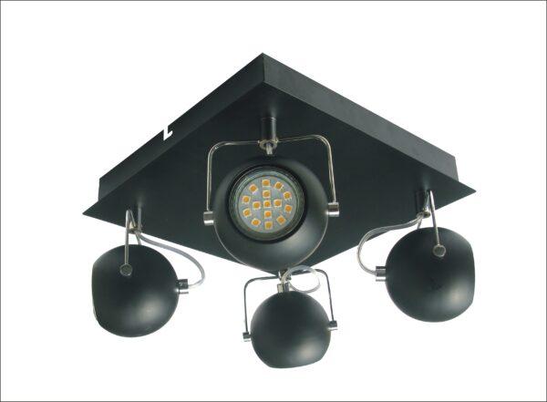 TONY LAMPA SUFITOWA PLAFON 4X3W LED GU10 CZARNY MATOWY - 98-25036