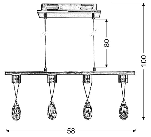 PRISMA LAMPA WISZĄCA 4X3W LED CHROM - 34-25708