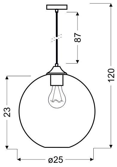 EDISON LAMPA WISZĄCA 25 1X60W E27 SREBRNY + ŻARÓWKA - 31-26651