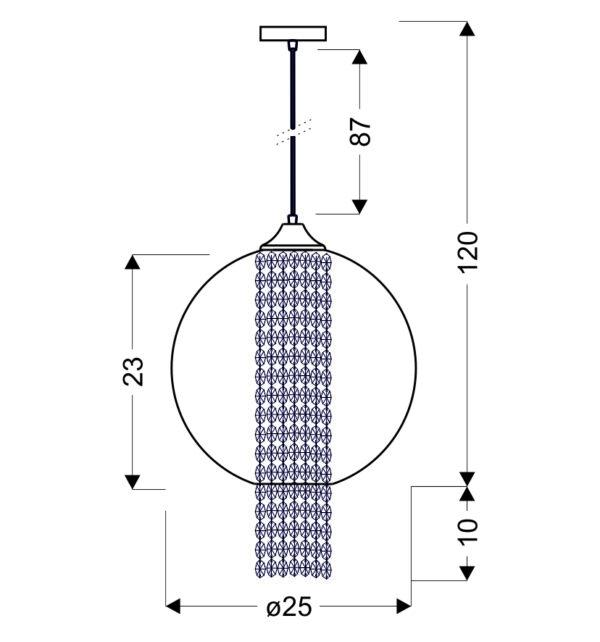 ALLANI LAMPA WISZĄCA 25 1X60W E27 TRANSPARENTNY Z KRYSZTAŁKAMI - 31-26668