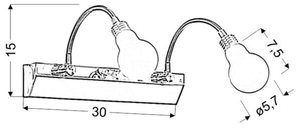 ACRYLIC LED LAMPA KINKIET 2X2W LED CHROM BIAŁY - 22-27054