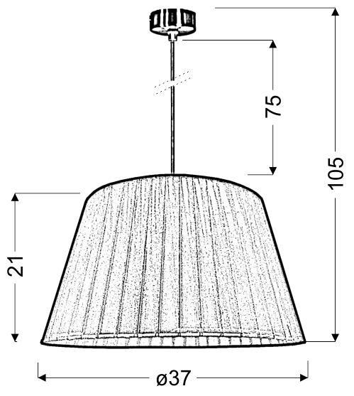 TIZIANO LAMPA WISZĄCA 37 1X60W E27 SREBRNY - 31-27085