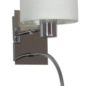 SYLWANA LAMPA KINKIET 1X40W E14 + LED Z WYŁĄCZNIKIEM CHROM / BIAŁY - 21-28648