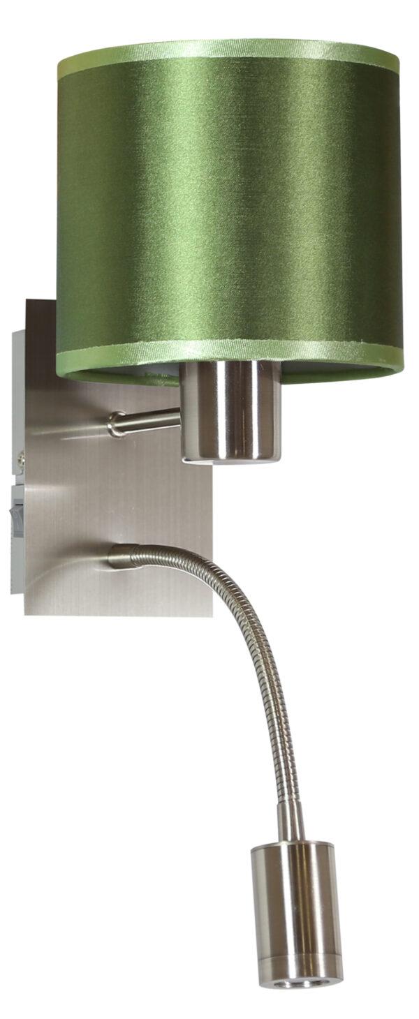 SYLWANA LAMPA KINKIET 1X40W E14 + LED Z WYŁĄCZNIKIEM CHROM / ZIELONY CIEMNY - 21-29294