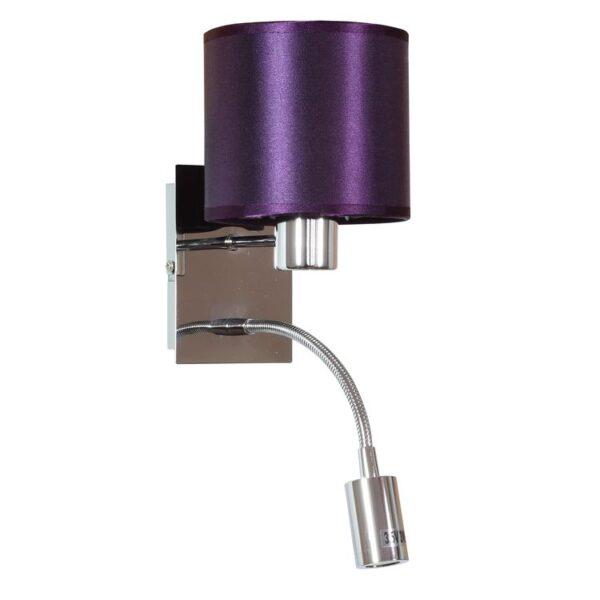 SYLWANA LAMPA KINKIET 1X40W E14 + LED Z WYŁĄCZNIKIEM CHROM / FIOLETOWY - 21-29348