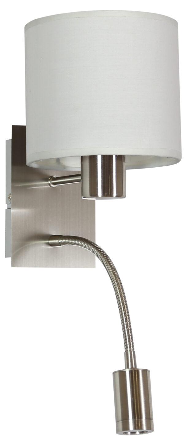 SYLWANA LAMPA KINKIET 1X40W E14 + LED Z WYŁĄCZNIKIEM SATYNA NIKIEL / BIAŁY - 21-29362