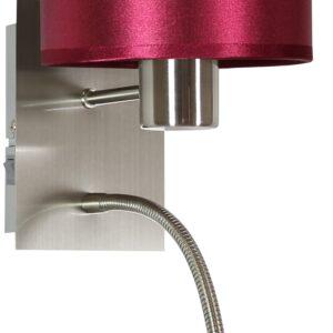 SYLWANA LAMPA KINKIET 1X40W E14 + LED Z WYŁĄCZNIKIEM SATYNA NIKIEL / BURGUND CIEMNY - 21-29416