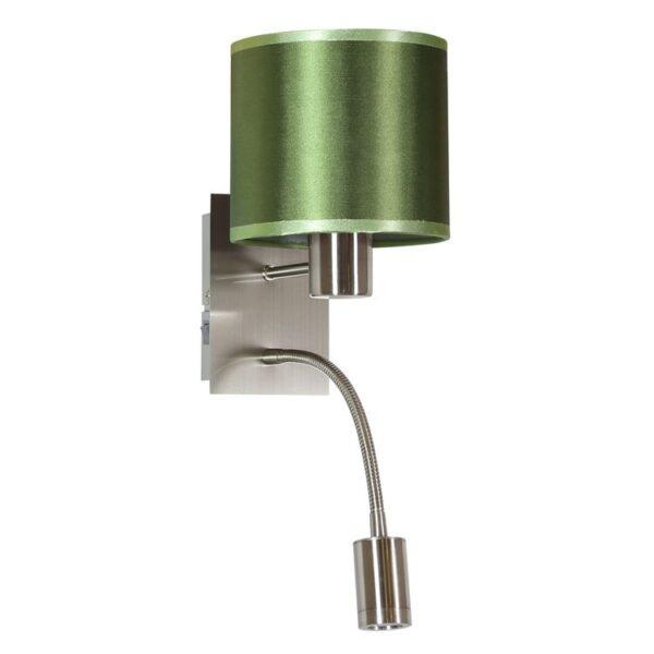 SYLWANA LAMPA KINKIET 1X40W E14 + LED Z WYŁĄCZNIKIEM SATYNA NIKIEL / ZIELONY CIEMNY - 21-29447