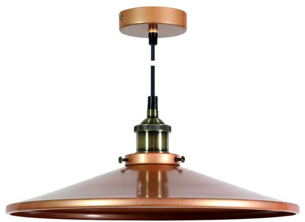 TILA LAMPA WISZĄCA 36 1X60W E27 KLOSZ NISKI  MIEDZIANY - 31-31334