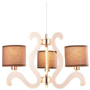 AMBROSIA 3 LAMPA WISZĄCA 3X40W E14 + 18,4W LED MIEDZIANY - 33-33888